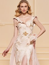A-Line Embroidery Lace Split-Front Evening Dress
