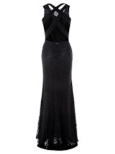 Sheath Scoop Lace Criss-Cross Straps Floor-Length Evening Dress