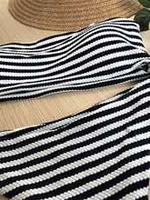 Knitwear Black And White Striped Adjustable Strap Women's Bikini Set