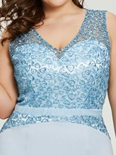 V Neck Blue Mermaid Plus Size Evening Dress