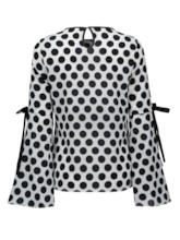 Polka Dots Round-neck Lace-up Women's Blouse