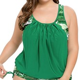Green Leaves Print Side Tie Ruffle Women's Plus Size One Piece Swimsuit