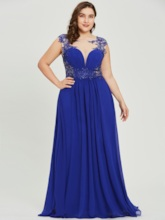 Scoop Beading Appliques A Line Blue Evening Dress