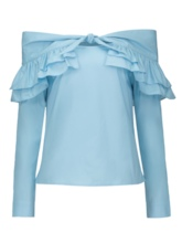 Ruffled Plain Off-Shoulder Elegant Women's Blouse