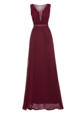 V Neck Sequins A-Line Evening Dress