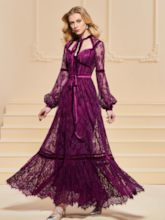 A-Line Button Lace Sashes Evening Dress