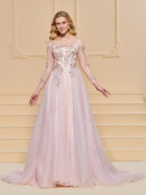 A-Line Scoop Lace Button Prom Dress