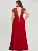 High Neck Zipper-Up Beaded A Line Evening Dress