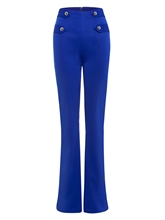 Wide Legs High Waist Button Women's Pants