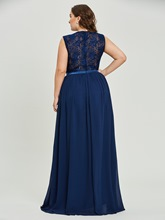 Scoop Neck A Line Plus Size Prom Dress