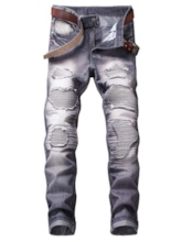 Elastic Hole Worn Slim Men's Fashion Jeans