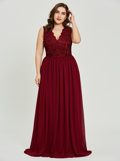 V Neck Lace A Line Plus Size Prom Dress