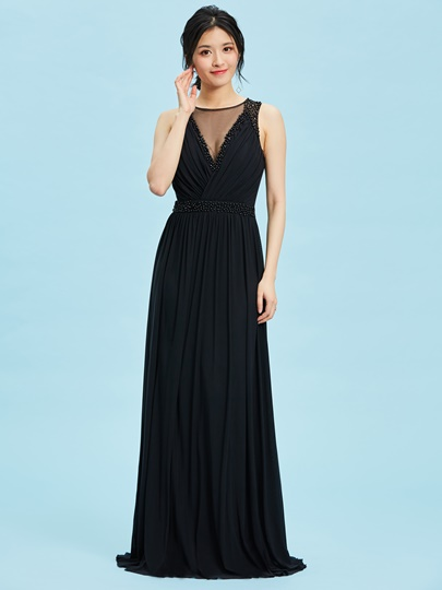 Scoop Neck Zipper-Up Pearls A Line Evening Dress