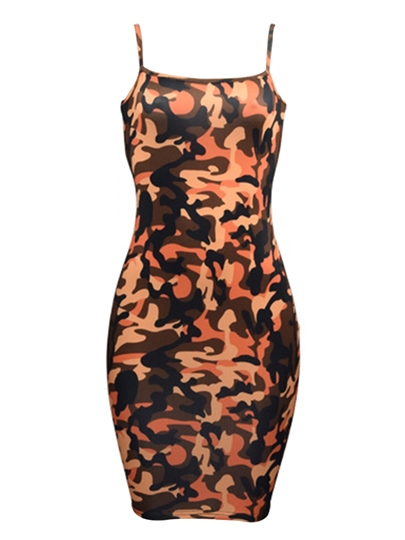 Camouflage Print Patterns With Slim Hip Women's Bodycon Dress