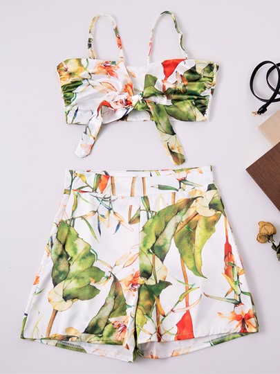 Off Shoulder Floral Printed Ruffle Women's Two Piece Set