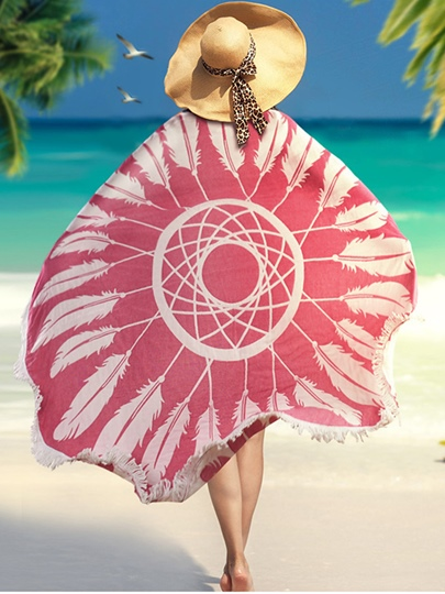 Quick-Dry Portable Hand Painted Round Beach Cover Up