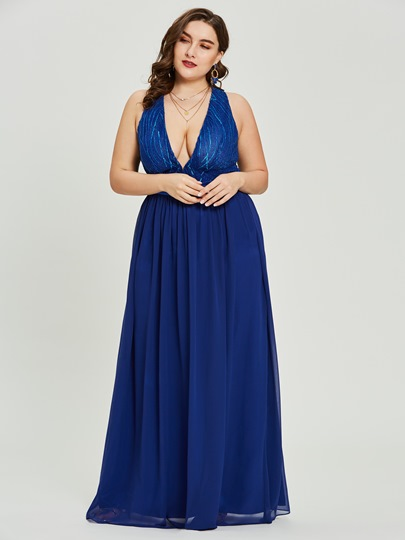 V Neck Beaded A Line Prom Dress