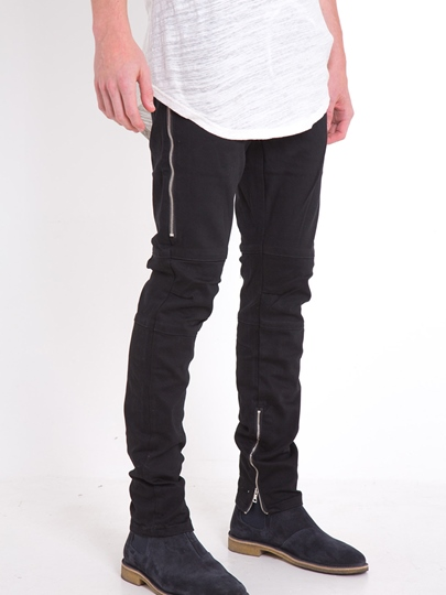 Elastic Slim Zipper Decorated Men's Fashion Jeans