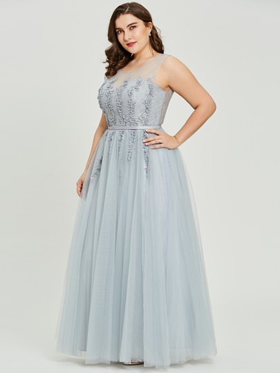 Scoop Neck Beading A Line Plus Size Prom Dress