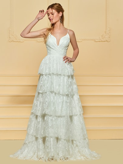 Spaghetti Straps Tiered Lace Beach Wedding Dress