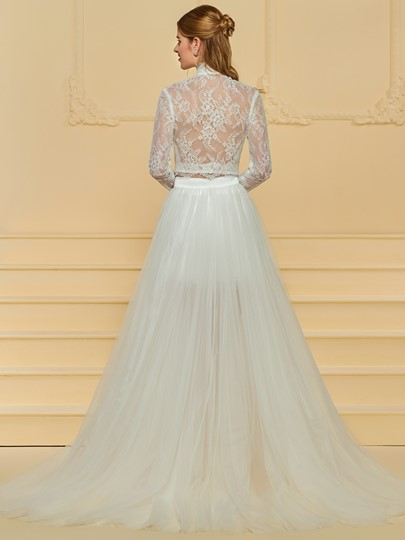 Lace Two Piece Wedding Dress with Detachable Train