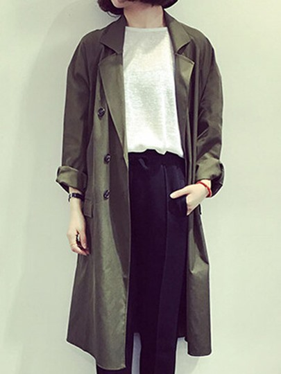 Button Up Long Sleeve Women's Trench Coat