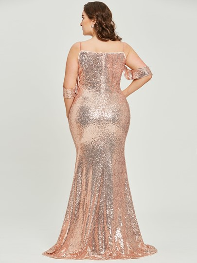 Spaghetti Straps Sequins A Line Plus Size Prom Dress