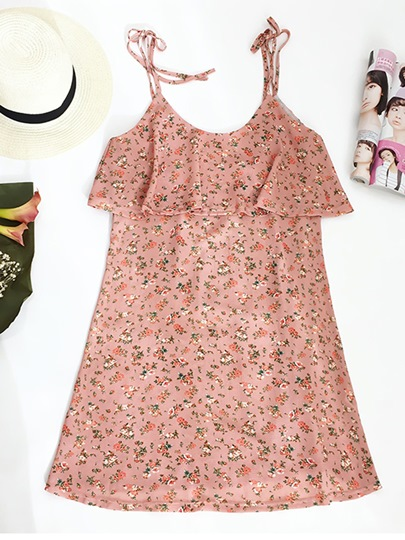 Pink Spaghetti Strap Floral Print Women's Day Dress