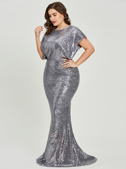 Short Sleeves Scoop Neck Sequins Mermaid Evening Dress
