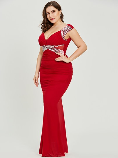 V Neck Sheath Red Sexy Plus Size Evening Dress