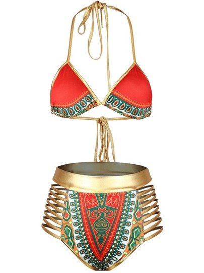 Africa Dashiki Halter Gold Strap Women's Bikini Set