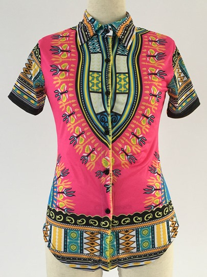 Dashiki African Print Short Sleeve Women's Blouse