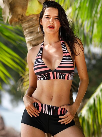Stripe Halter Boyshorts Tankini Set