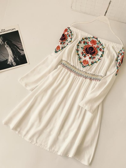 Slash Neck Ethnic Embroidery Women's Day Dress