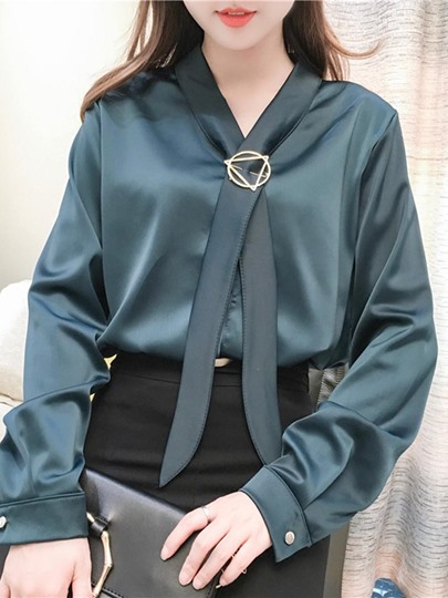 Plain Smooth Satin Women's Blouse With Neck Tie