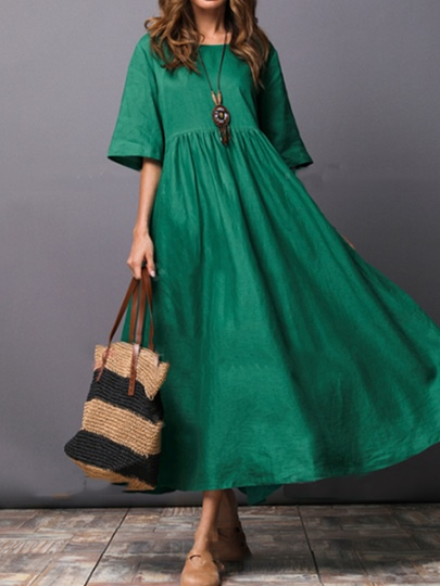 Image of 1/2 Sleeve Solid Color With Loose style Womens Day Dress