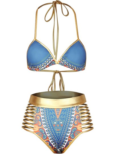 Halter Gold Strap Africa Dashiki High Waisted Swimsuit Women's Bikini Set