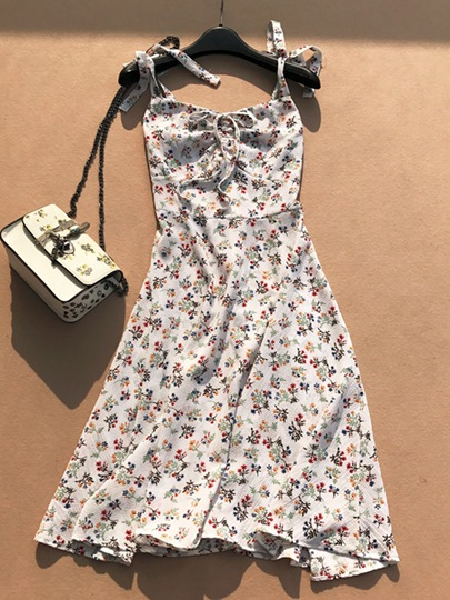 Lace-Up Floral Print Spaghetti Strap Women's Day Dress