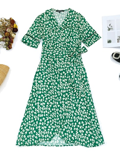 Green Wrap Lace-Up Print Women's Maxi Dress