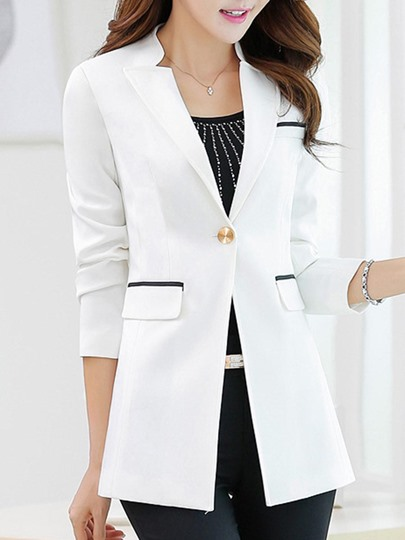 Solid Color Mid Length Women's Casaul Work Blazer
