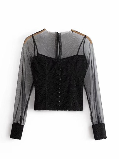 Lace Patchwork Women's Sheer Blouse With Button