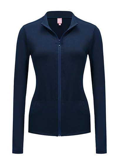 Plain Zip Up Slim Fit With Pocket Women's Sweatshirt