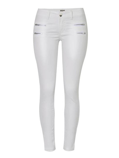 Plain Skinny PU Pocket Womens Jeans 13186156