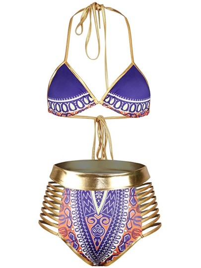 Gold Strap Hollow-Up Dashiki Women's Bikini Set
