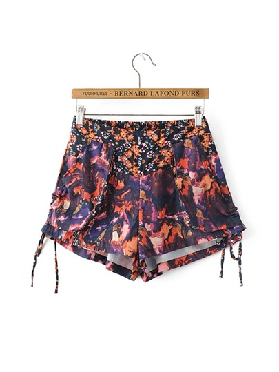 Floral Print Loose Lace-Up Women's Shorts