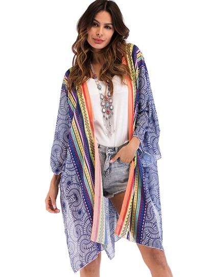 Dashiki Open Front Flowy Women's Beach Top
