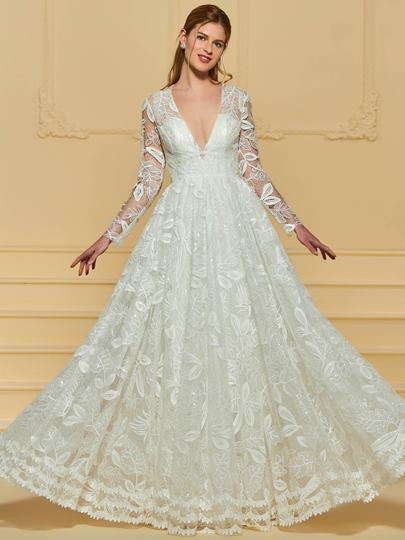 V-Neck Sequins Lace Wedding Dress with Long Sleeve