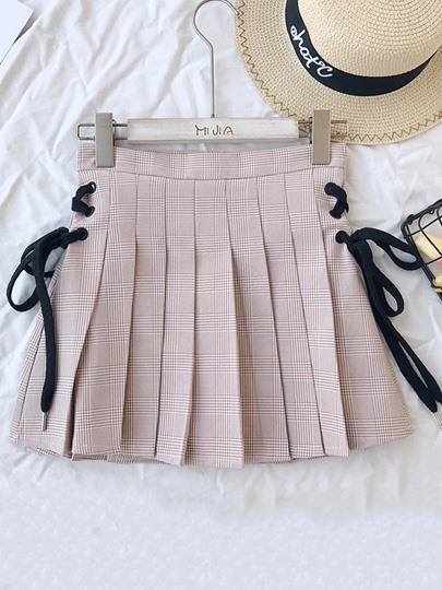 Pleated Lace-Up Women's Mini Skirt