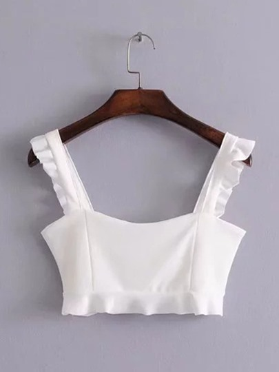 Ruffle Cami Crop Top For Women
