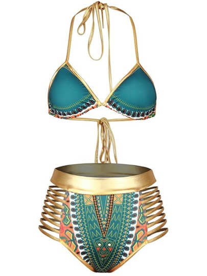 Hollow-Up Africa Dashiki Gold Strap Women's Bikini Set
